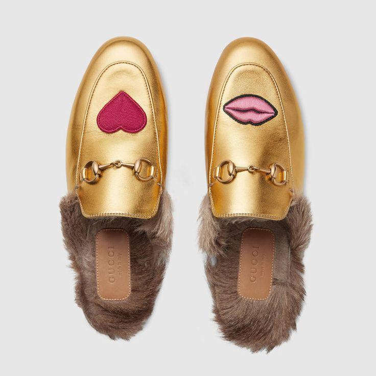 d78239fe1fb6734d52dc07aafb399428--gucci-gucci-shoes-women Collection Gucci Chaussures & Sacs : Gucci Hearts & Lips - Pantoufles brodées Princetown