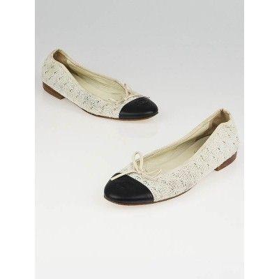 40ca590c534 Chaussure CHANEL   Chanel Beige Crochet Black Leather Cap-Toe Ballet Flats